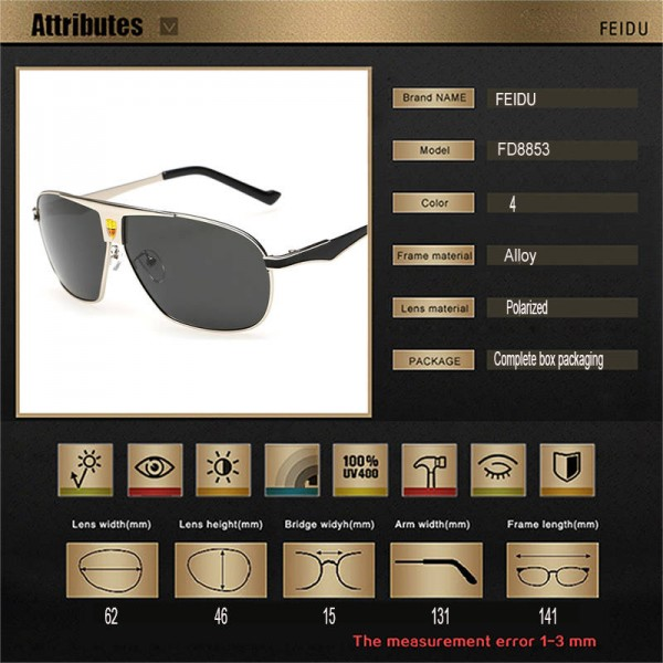 Mens Polarized Sunglasses Driving Outdoor Alloy Frame Sun Shades For Boys Adult Pilot Aviator Eyewear Extra Image 4