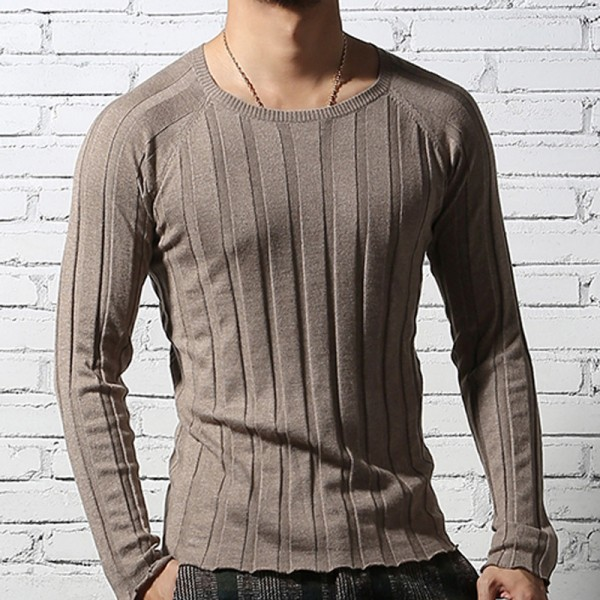 Mens Pullover tops Casual long sleeve shirts Brand Autumn O neck bottoming sweatshirt Men Cotton knitwear Sweaters Extra Image 3