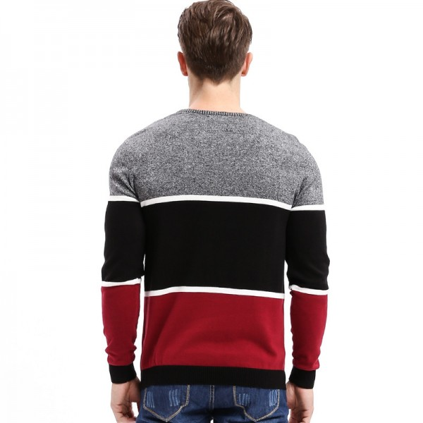 Mens Pullovers Sweaters O neck Wear Basic Style Stitching three color design Preppy Shirts  Regular Mens Fashion Extra Image 2