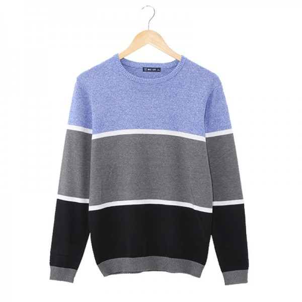 Mens Pullovers Sweaters O neck Wear Basic Style Stitching three color design Preppy Shirts  Regular Mens Fashion Extra Image 3