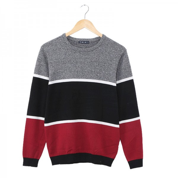 Mens Pullovers Sweaters O neck Wear Basic Style Stitching three color design Preppy Shirts  Regular Mens Fashion Extra Image 4