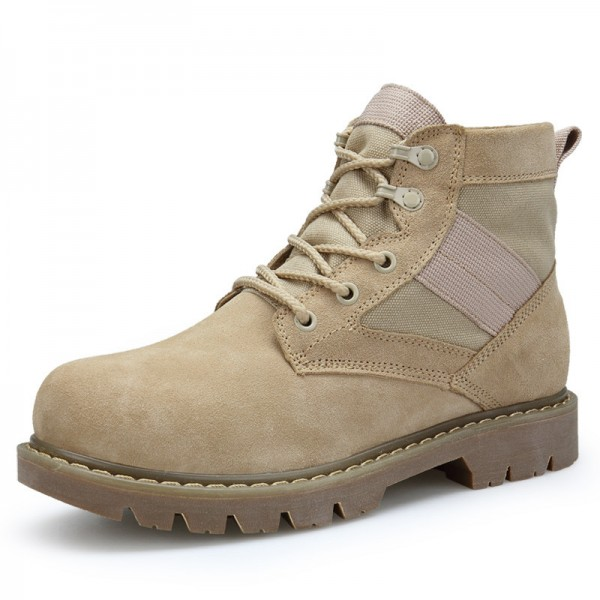 Mens Shoes Casual Canvas Leather Work Safety Boots Fashion Tooling Boots Lace Up Ankle Mid Calf Desert Boots