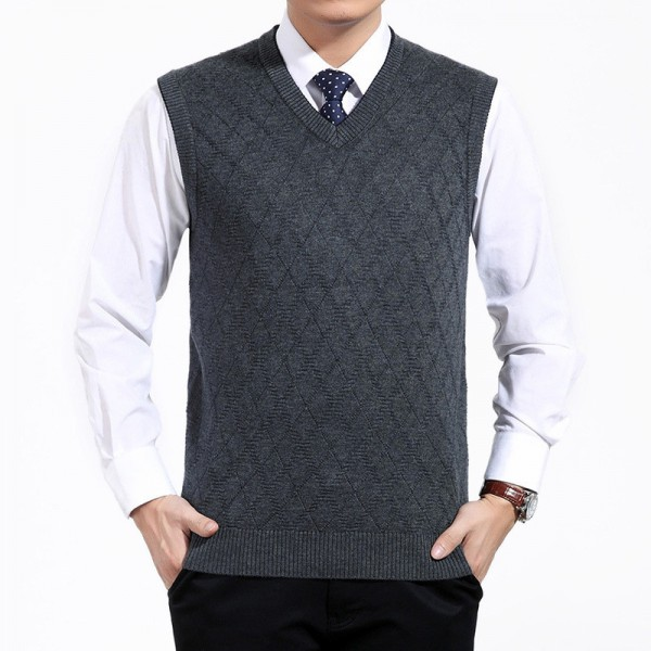 Mens Short V Neck Wool Knitted Vest Large Size Sweater Pullover Jumper Jersey Hombre Warm Slimming Formal Clothes Extra Image 1