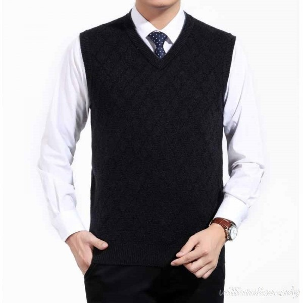 Mens Short V Neck Wool Knitted Vest Large Size Sweater Pullover Jumper Jersey Hombre Warm Slimming Formal Clothes Extra Image 4