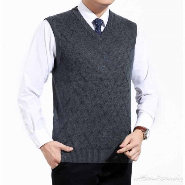 Mens Short V Neck Wool Knitted Vest Large Size Sweater Pullover Jumper Jersey Hombre Warm Slimming Formal Clothes Extra Image 5