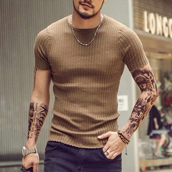 Mens Solid Color Pure Cotton T Shirts Threaded O Neck Casual T Shirts Slim Fit Tees New Arrival 2018 Summer Tops Extra Image 1