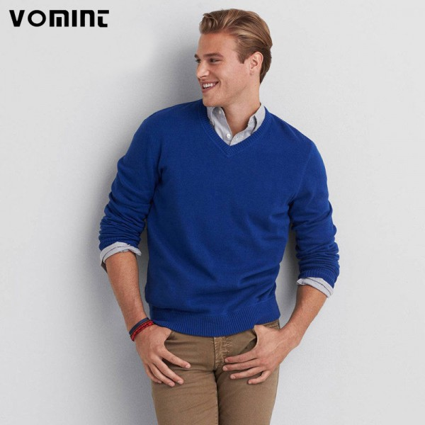 Mens Sweater Pullover Original Cotton V Neck Solid Color Casual Europe Plus Size High Quality Knitted Cardigan For Men Extra Image 1