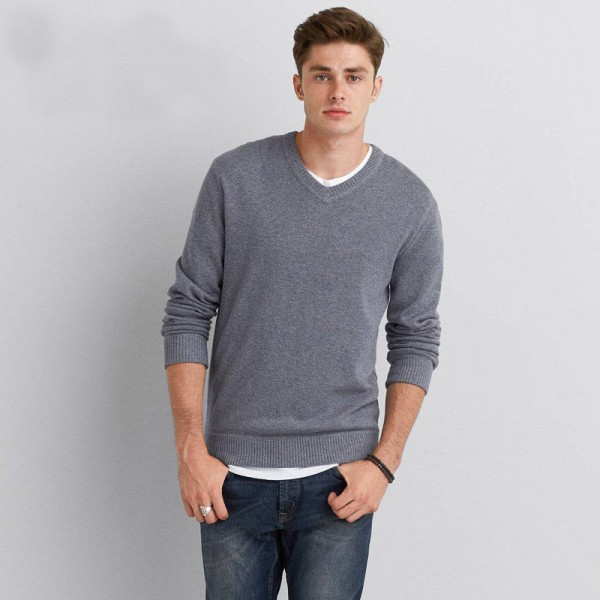 Mens Sweater Pullover Original Cotton V Neck Solid Color Casual Europe Plus Size High Quality Knitted Cardigan For Men