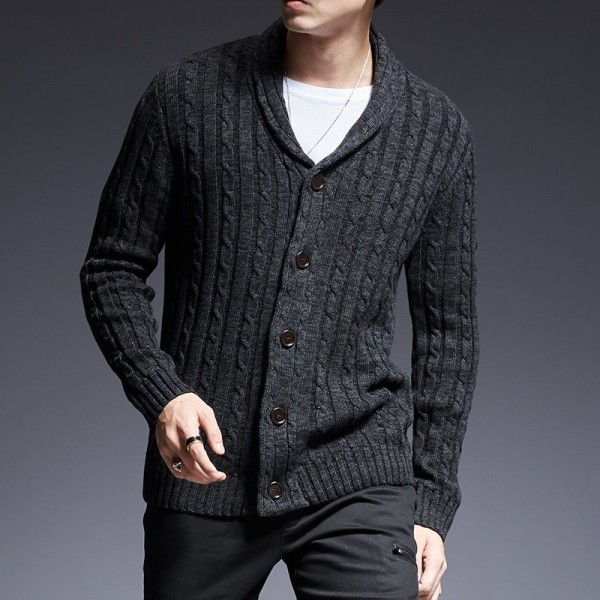 Mens sweaters V neck winter Cardigan Knitwear Slim Casual Lapel Single Breasted autumn Wool Cotton brand Men Coat Extra Image 1