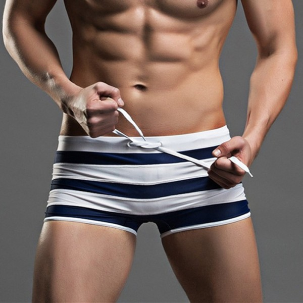 Mens Swimming Briefs Swimsuit Beach Trunks Striped Trunks Boxer Briefs Board Short Surfing Boarding Trunks Extra Image 1