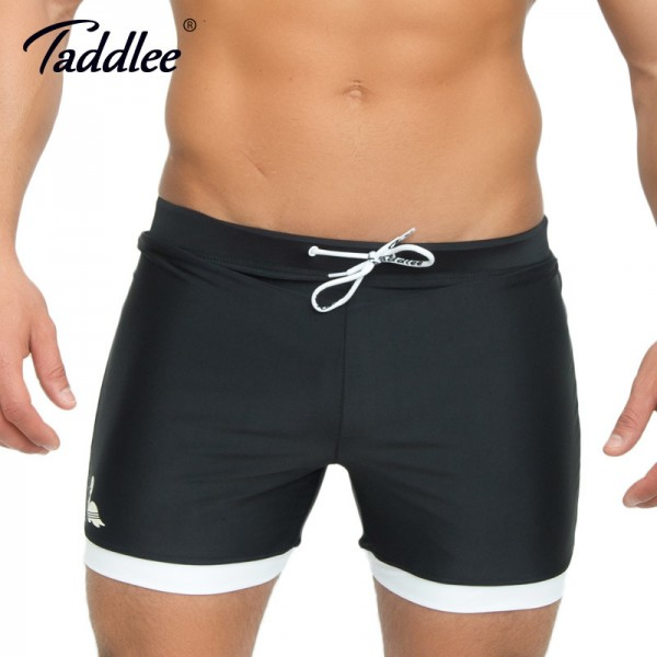 Mens Swimwear Swimsuits Swim Boxer Trunks Long Solid Color Black Board Surf Shorts Big Size XXL Traditional Trunk