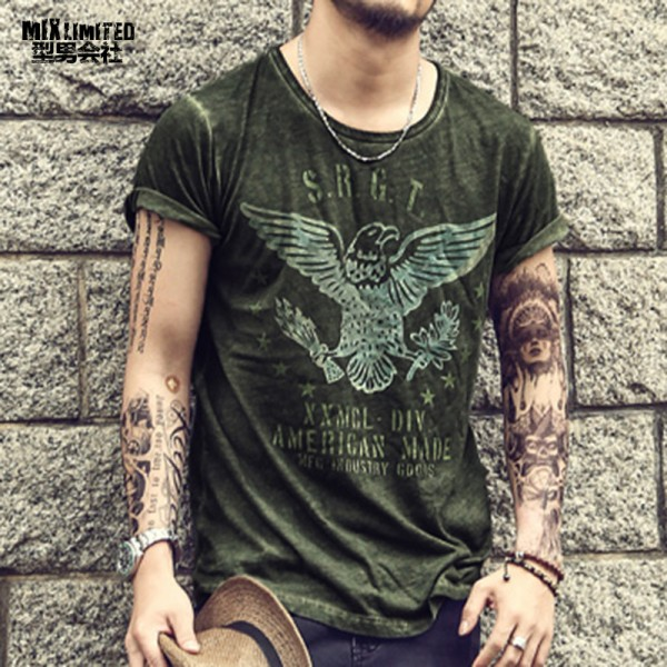 Mens T Shirt Retro Military Mens All Sizes Slim Fit Cotton Very Saints Style High Quality Casual Men Solid Homme Extra Image 1