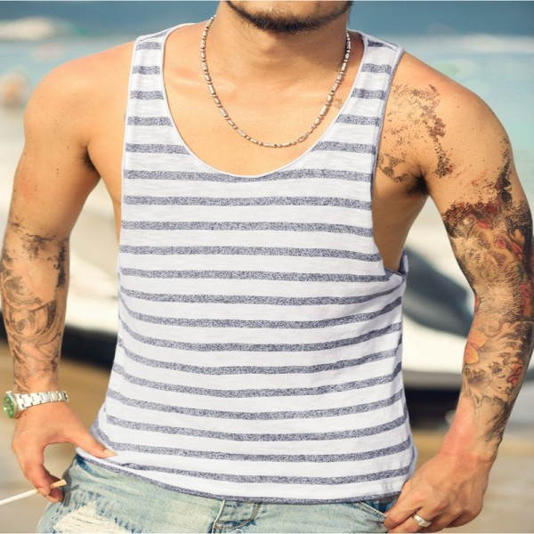 Mens Undershirt Tank Top Vest Sleeveless T Shirt Top Men Fitness Summer Beach Bamboo Cotton Striped Tees Extra Image 2