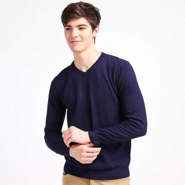Mens V Neck Basic Cotton Sweaters Pullovers Classic All Match Wear Standard Knitted Youth Shirt Sweatshirt Cardigan Extra Image 3