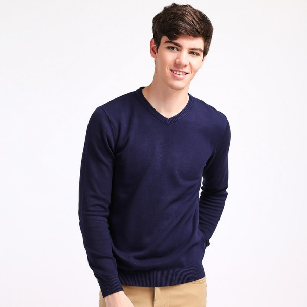 Mens V Neck Basic Cotton Sweaters Pullovers Classic All Match Wear Standard Knitted Youth Shirt Sweatshirt Cardigan