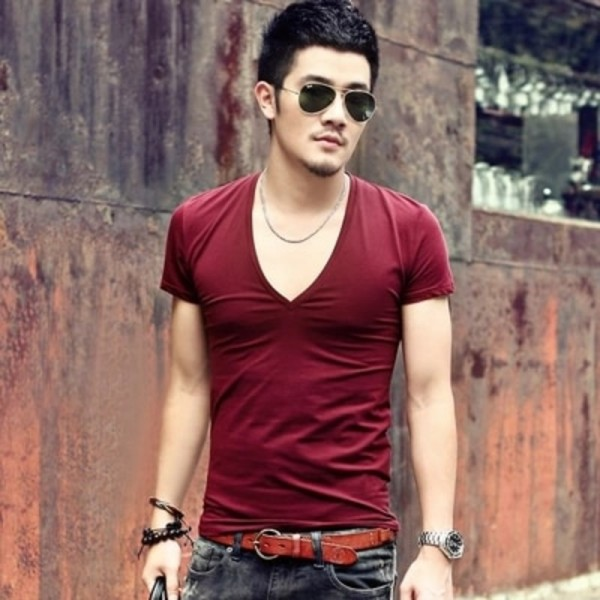 Mens V neck sexy Tshirt men cotton lycra t shirts Short Sleeve Tops Tees Mens T shirt New Mens Summer designer Tops Extra Image 6