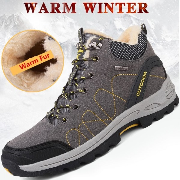 Mens Winter Boots Man High Quality Sneaker Mens Ankle Leather Boot Men Male Shoes Warm Fur Classic Casual Snow Boot Extra Image 4