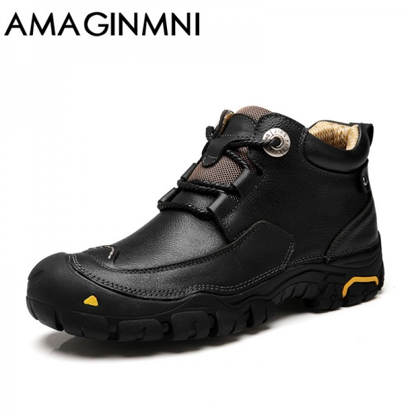 Mens Winter Leather Men Waterproof Rubber Boots Leisure Boots England Retro Shoes For Men Outdoor leisure shoes Extra Image 5
