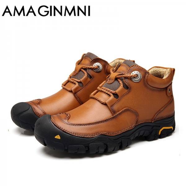 Mens Winter Leather Men Waterproof Rubber Boots Leisure Boots England Retro Shoes For Men Outdoor leisure shoes Extra Image 6