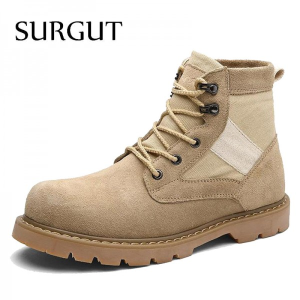 Mens Working Boots Oxford Ankle Boots Autumn Winter Shoes High Quality Suede Leather Boots Mens Footwear