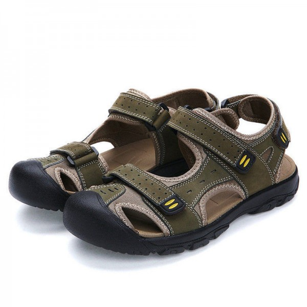 Merkmak 2018 Fashion Summer Shoes Cow Leather Men Sandals Mens Casual Outdoor Sandal Rubber Sole Beach Shoes