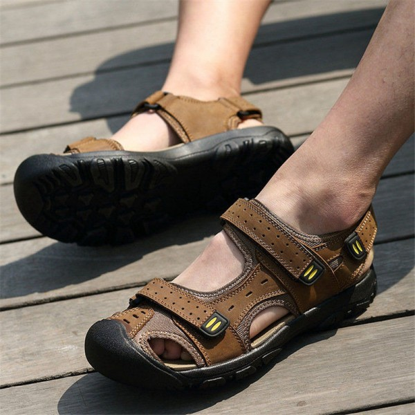 0d61adcd913a ... Merkmak 2018 Fashion Summer Shoes Cow Leather Men Sandals Mens Casual  Outdoor Sandal Rubber Sole Beach ...