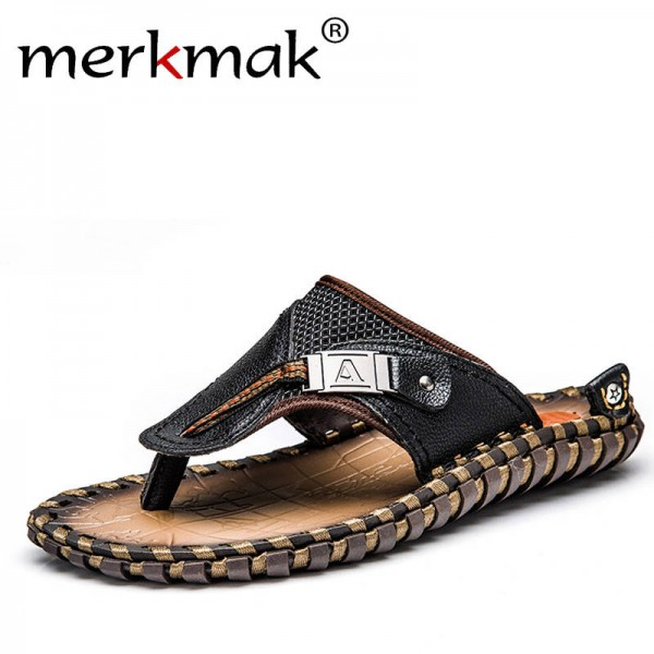 Merkmak Luxury Brand Flip Flop Slippers Beach Sandals Genuine Leather For Men Thumbnail