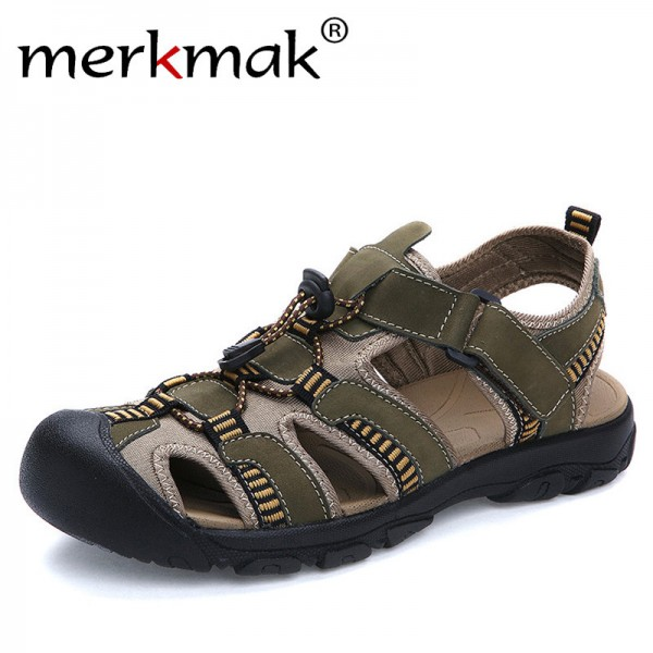 212c823058162b Buy Merkmak Summer Men Sandals Genuine Leather Breathable Shoes Men Outdoor  Walking Casual Beach Sandal Shoes