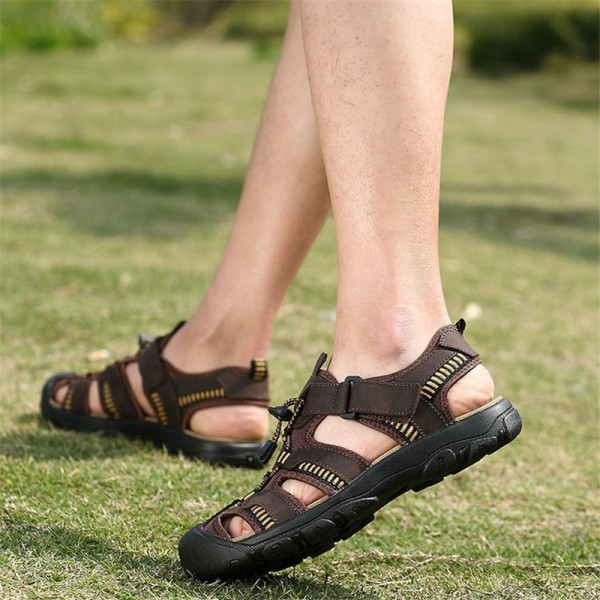 Merkmak Summer Men Sandals Genuine Leather Breathable Shoes Men Outdoor Walking Casual Beach Sandal Shoes Extra Image 5