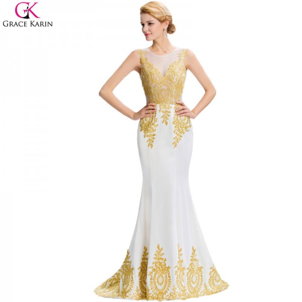 Buy Mermaid Evening Dress White Black Blue Red Gold Appliques Floor ...