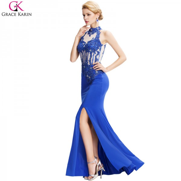 Buy Mermaid Evening Dresses Slit Robe De Soiree Halter Backless ...