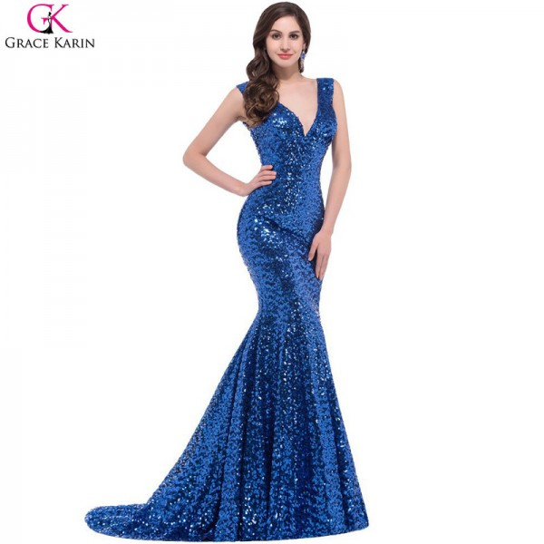 Mermaid Prom Dresses Grace Karin Sequin V Neck Black Red Golden Blue Formal Gowns Robe De Soiree Party Dress