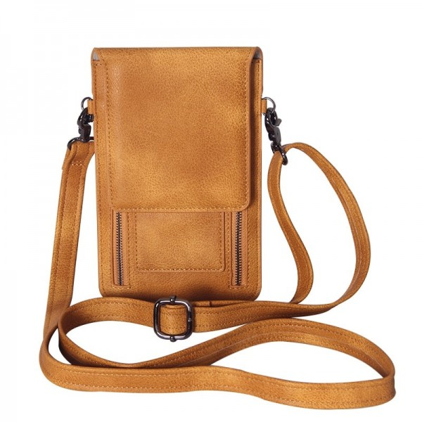 Messenger Bag Women Pu Leather Single Shoulder Bag Mini Ladies Crossbody Bag With Zipper Cell Phone Pack