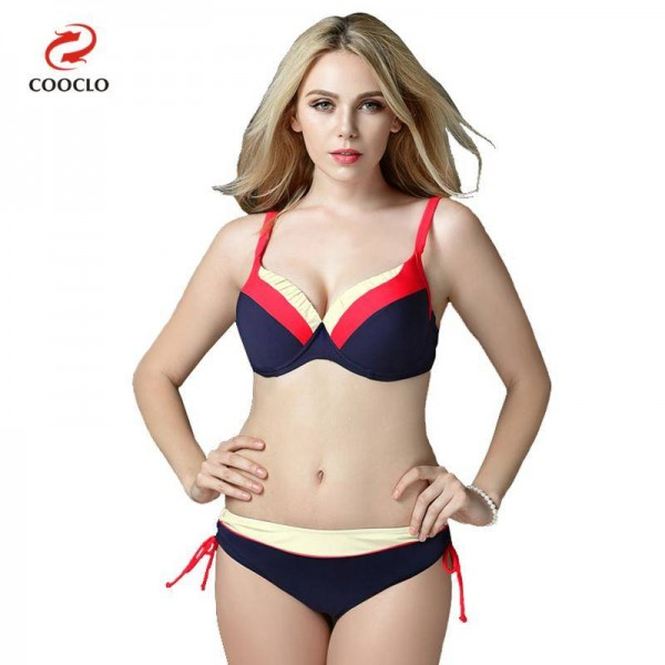 Mid Waist Bikini Swimsuits For Female Patchwork Plus Size Beachwear Push Up Red Bathing Suits For Women Extra Image 0