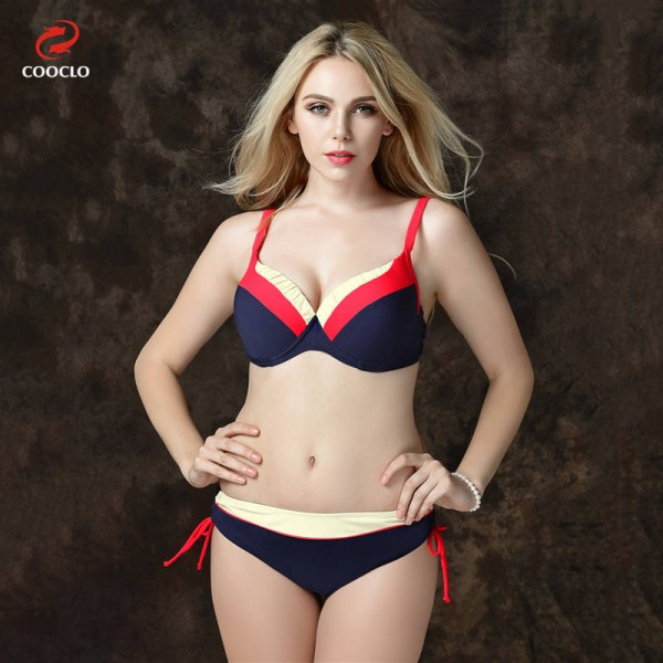 Mid Waist Bikini Swimsuits For Female Patchwork Plus Size Beachwear Push Up Red Bathing Suits For Women Extra Image 1