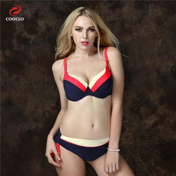 Mid Waist Bikini Swimsuits For Female Patchwork Plus Size Beachwear Push Up Red Bathing Suits For Women Extra Image 2