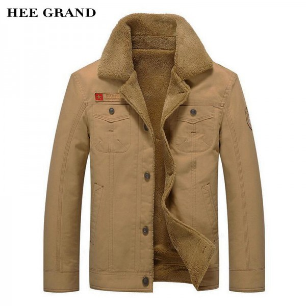 Military Jackets For Men New Turn Down Collar Regular Length Straight Thick Warm Outwear Plus Size Male Outwear Extra Image 1