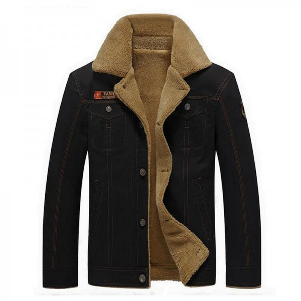 Military Jackets For Men New Turn Down Collar Regular Length Straight Thick Warm Outwear Plus Size Male Outwear