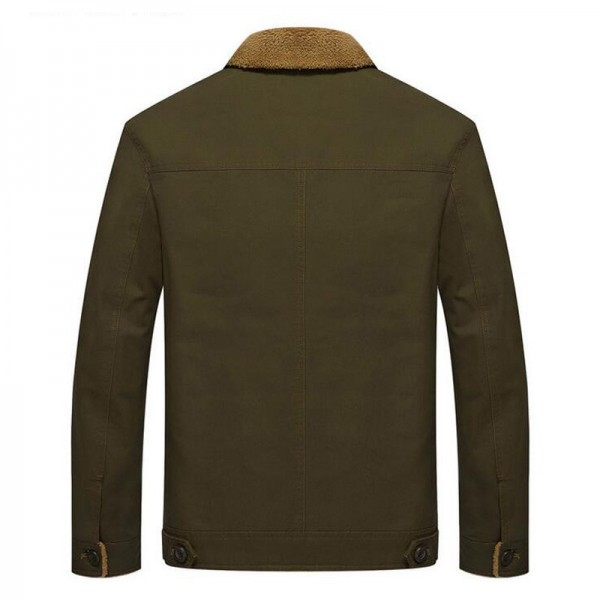 Military Jackets For Men New Turn Down Collar Regular Length Straight Thick Warm Outwear Plus Size Male Outwear Extra Image 4