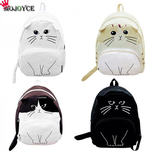 Mojoyce Cat Printed Backpack For Women Lovely Canvas School Bags For Teenagers Ladies Cute Rucksack Bookbag Extra Image 2