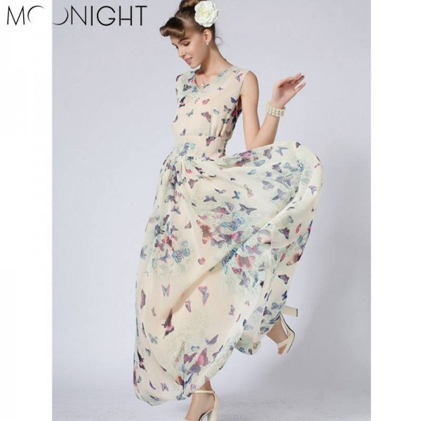 dc3b1ee01773 Moonlight O Neck Women Summer Long Beach Dress Boho Ladies New Style Fashion  Multicolor Floral Maxi ...