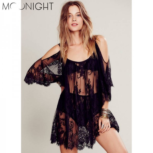 Moonlight Sexy Summer Beach Dress Boho Style Embroidery Sling Short Sleeve Placement Lace Dress For Women Thumbnail