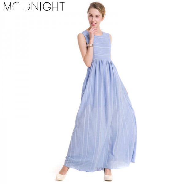 Moonlight Summer Casual Shift Dress O Neck Sleeveless Maxi Party Beach Style Dress New Arrival For Women Thumbnail