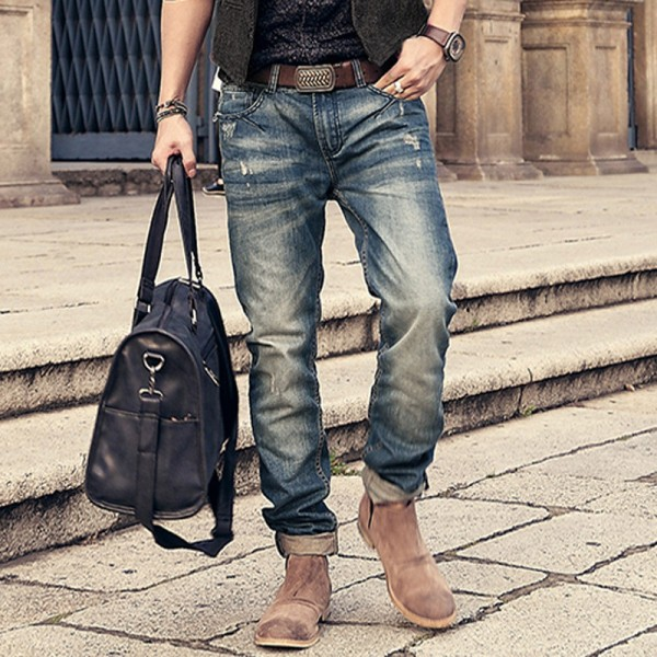 Motorcycle denim biker jeans men Slim Fit  Washed Vintage Ripped jeans for men Elastic Denim Pants skinny jeans men