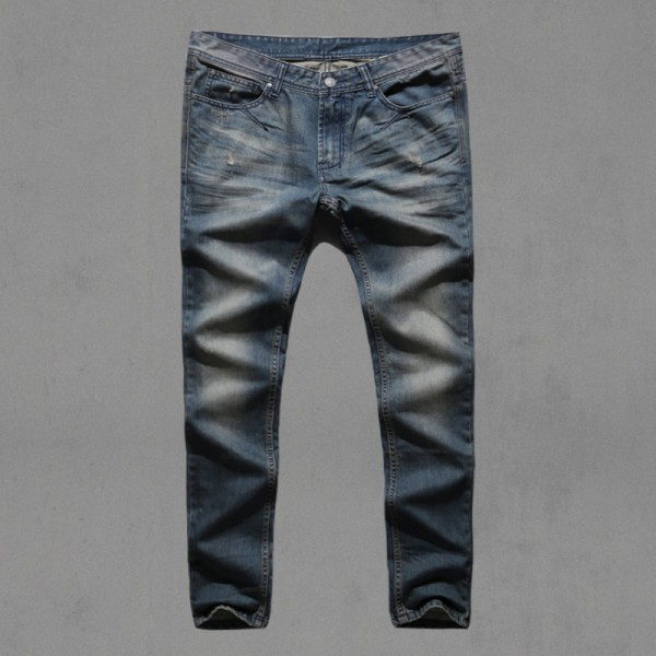 7732a115 ... Motorcycle denim biker jeans men Slim Fit Washed Vintage Ripped jeans  for men Elastic Denim Pants ...