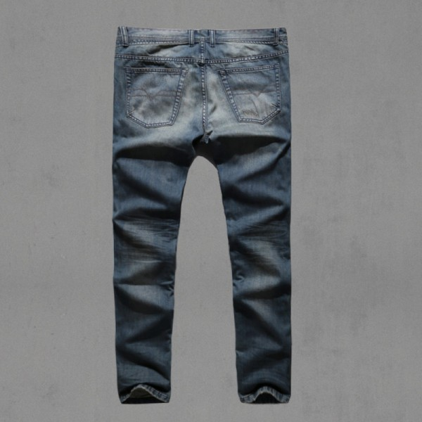 Motorcycle denim biker jeans men Slim Fit  Washed Vintage Ripped jeans for men Elastic Denim Pants skinny jeans men Extra Image 5