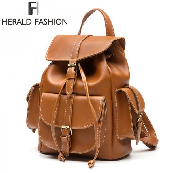 buy multi pocket women backpacks high quality pu leather trending school bags for girls top