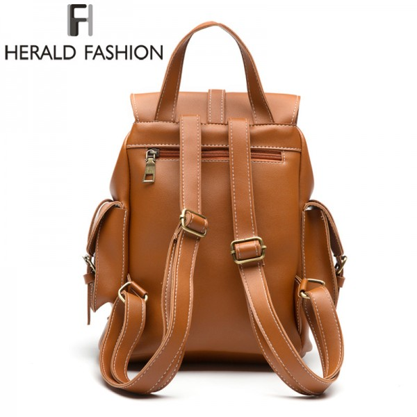 Multi Pocket Women Backpacks High Quality Pu Leather Trending School Bags For Girls Top Handle Travel Backpacks Extra Image 3