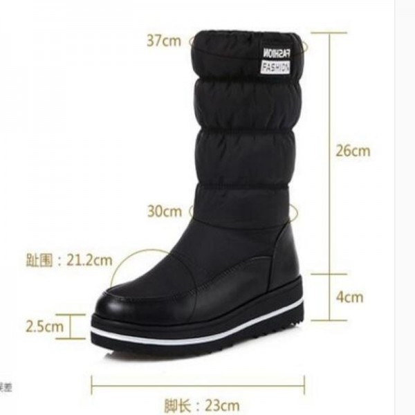NAUSK Plus size new snow boots women warm cotton down shoes waterproof boots fur platform mid calf boots black Extra Image 2