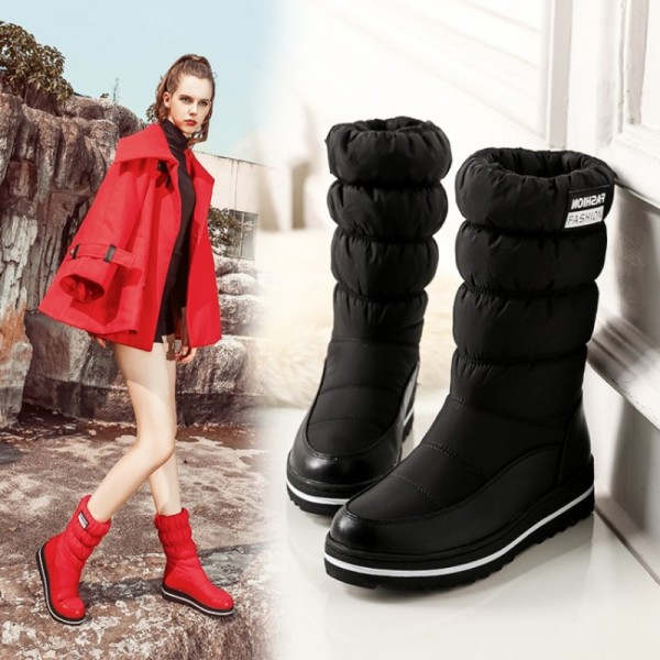 NAUSK Plus size new snow boots women warm cotton down shoes waterproof boots fur platform mid calf boots black Extra Image 4